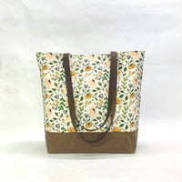 Ditsy Floral / Waxed Canvas Tote Bag with Leather Straps