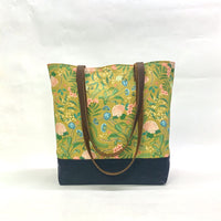 Spring Bloom / Waxed Canvas Tote Bag with Leather Straps