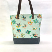 Ambrosia Folk Bird / Waxed Canvas Tote Bag with Leather Straps