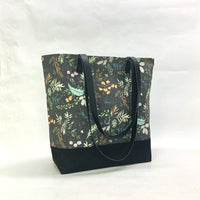 Foliage Charcoal / Waxed Canvas Tote Bag with Leather Straps