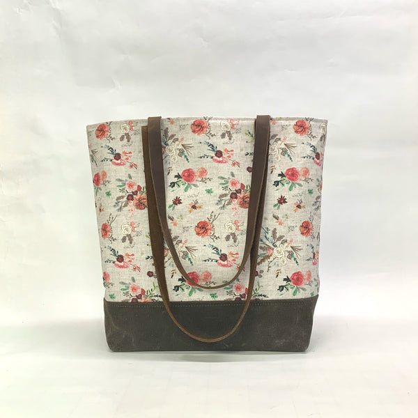 Fable Bouquet / Waxed Canvas Tote Bag with Leather Straps