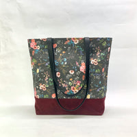 Wild Meadow / Waxed Canvas Tote Bag with Leather Straps