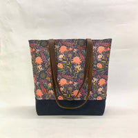 Protea Garden / Waxed Canvas Tote Bag with Leather Straps