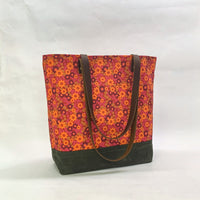 Ditsy Red / Waxed Canvas Tote Bag with Leather Straps
