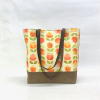 Mid Century Flowers / Waxed Canvas Tote Bag with Leather Straps