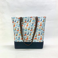 Roller Skates / Waxed Canvas Tote Bag with Leather Straps
