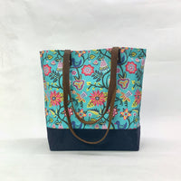 Vines & Flowers Turquoise / Waxed Canvas Tote Bag with Leather Straps