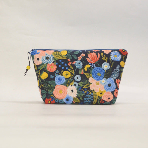Garden Party Navy Small Zipper Pouch Gadget Case Cosmetics Project Bag