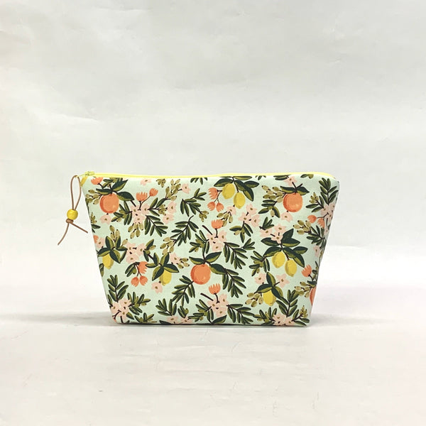 Rifle Paper Co Citrus Floral Mint Small Zipper Pouch Gadget Case Cosmetics Project Bag