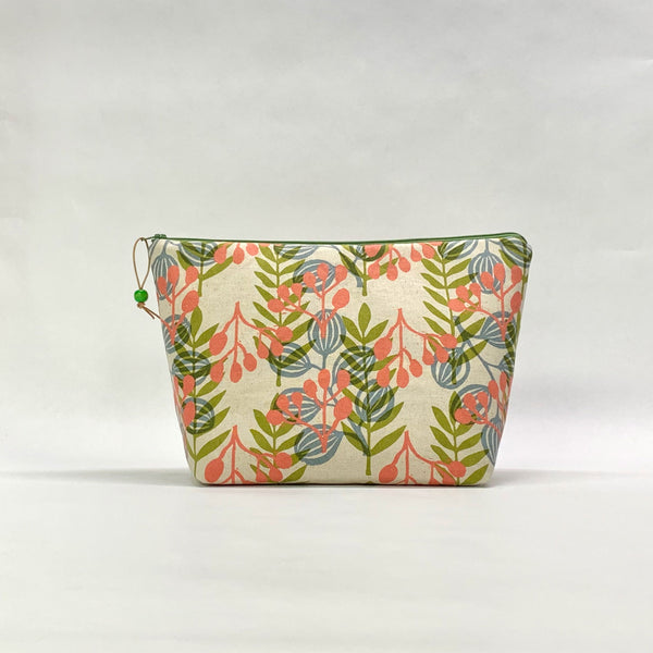 Meadow Coral Medium Zipper Knitting Project Craft Wedge Bag