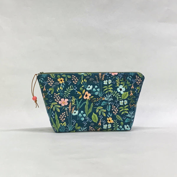 Herb Garden Navy Small Zipper Pouch Gadget Case Cosmetics Project Bag
