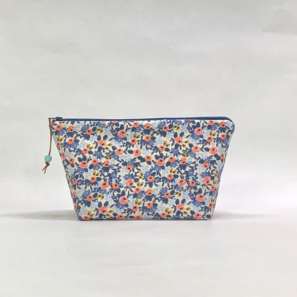 Rosa Blue Small Zipper Pouch Gadget Case Cosmetics Project Bag