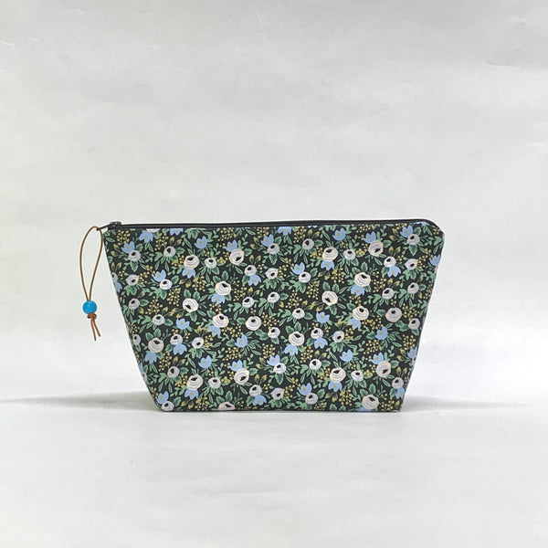 Rosa Black Small Zipper Pouch Gadget Case Cosmetics Project Bag