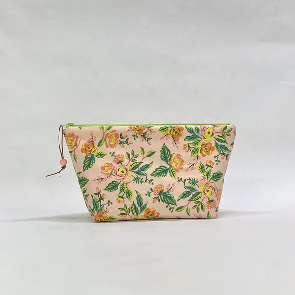 Jardin de Paris Pink Small Zipper Pouch Gadget Case Cosmetics Project Bag