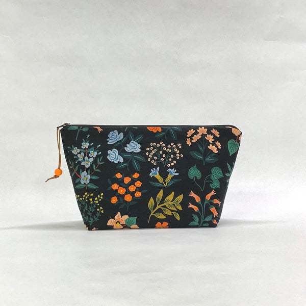 Wildflowers Black Small Zipper Pouch Gadget Case Cosmetics Project Bag