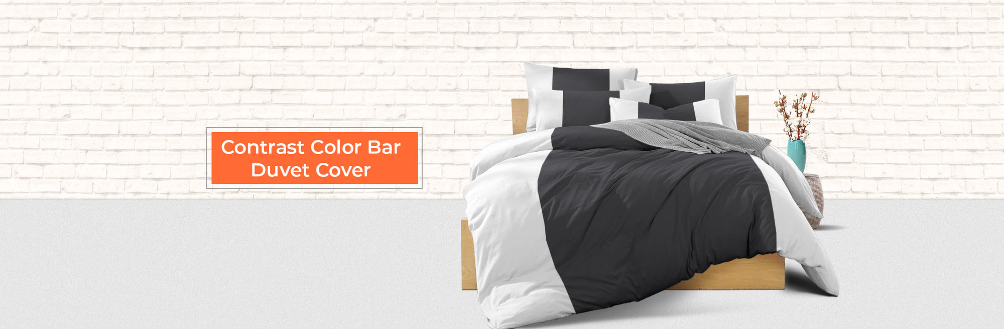 Contrast Colour Bar Duvet Cover