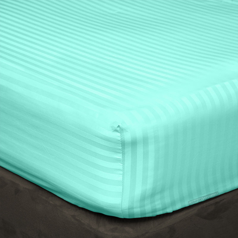 100% Egyptian Cotton Aqua Blue Striped Fitted Sheets