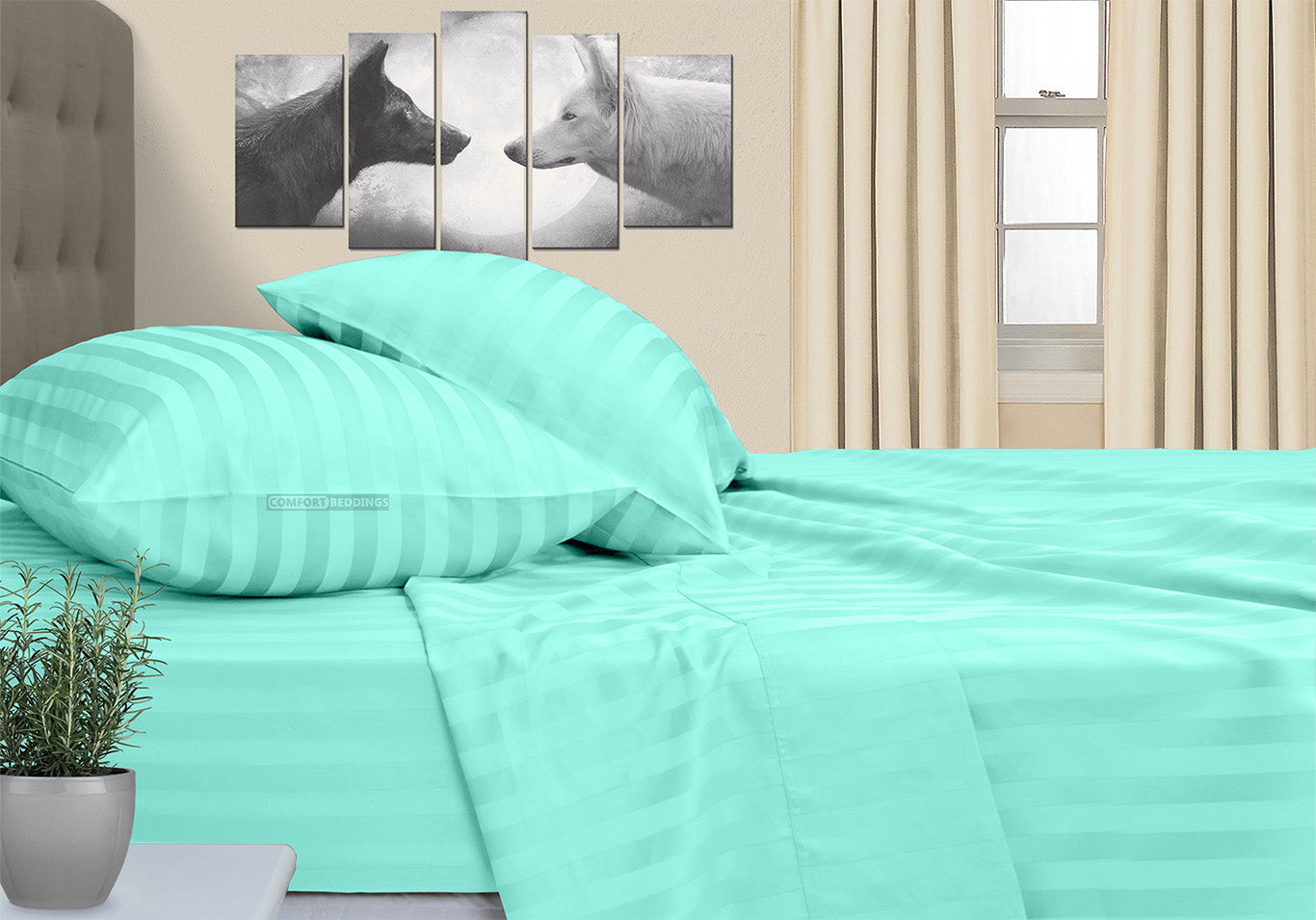 Luxurious Aqua Blue Striped RV Bunk Sheet Set