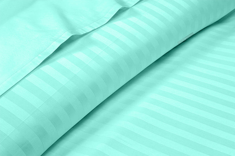 High Quality Aqua Blue 600 TC Striped Sheet Set