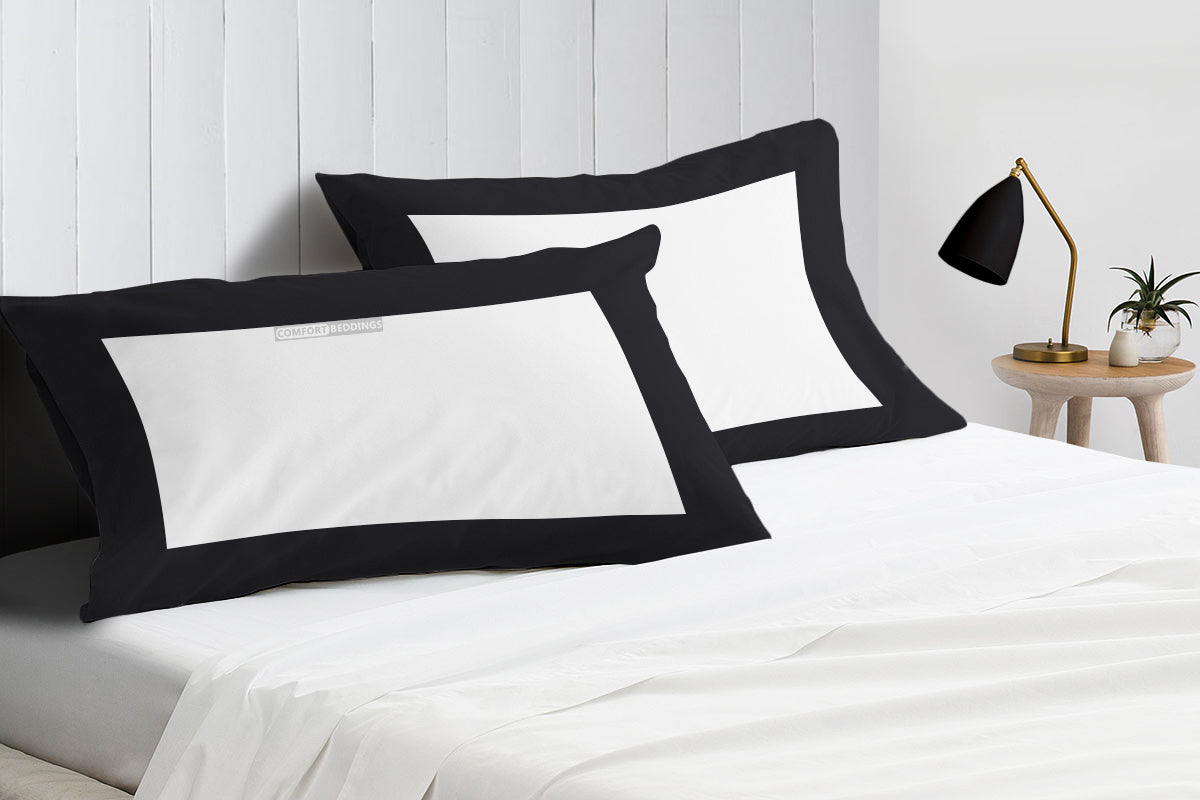 black with white Two Tone Pillowcases Egyptian Cotton
