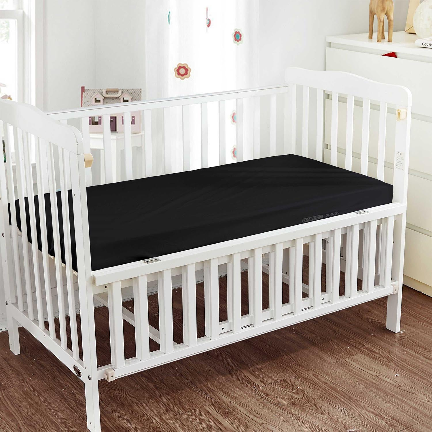 Classy Black Fitted Crib Sheets - 600TC
