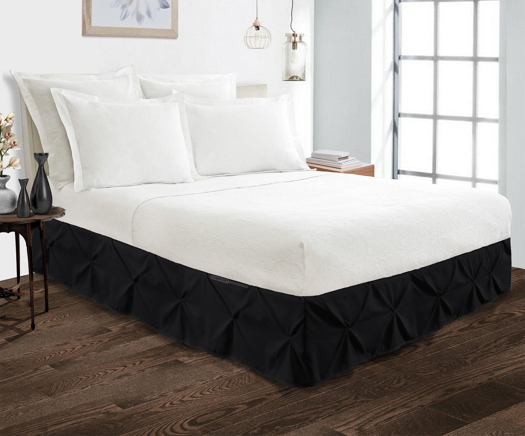 Luxury 600 TC Black pinch pleated bed skirt