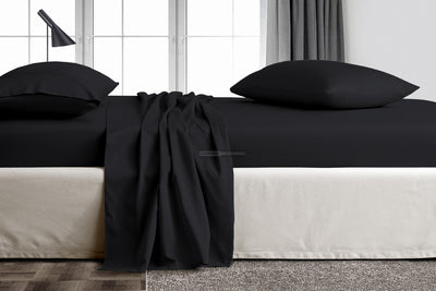Luxury 600 TC Black Flat Sheet
