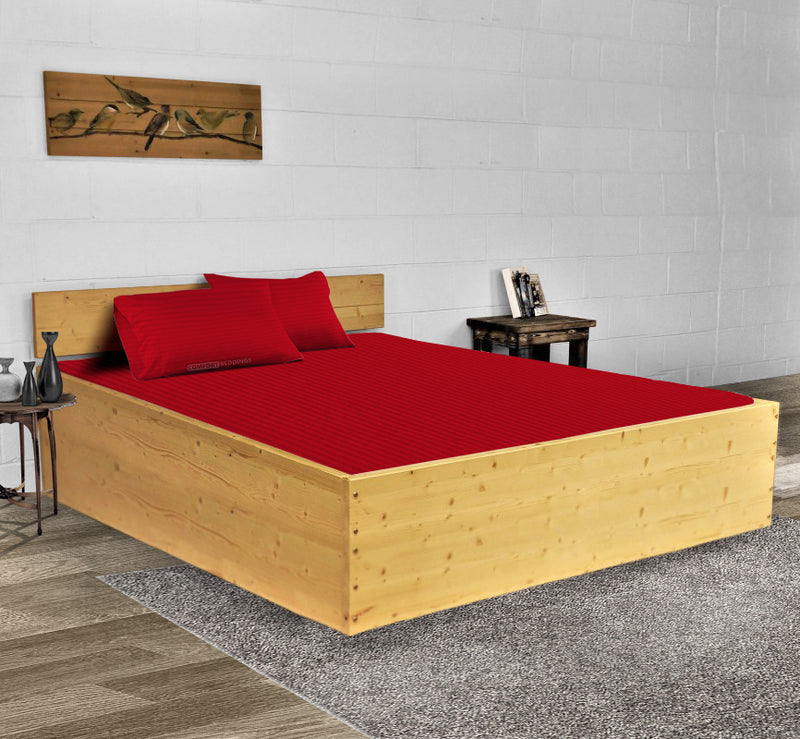 Luxury 600TC Blood Red Stripe Waterbed Sheets