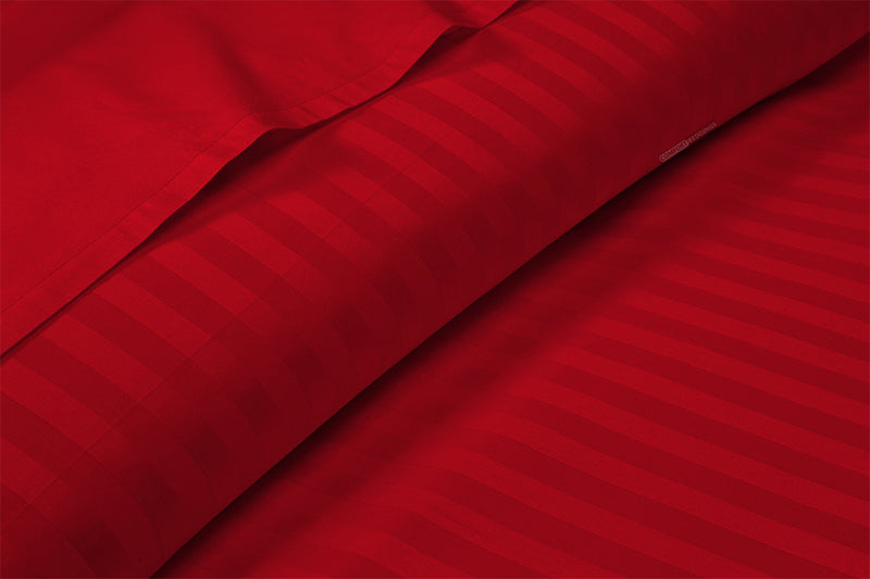 600 Thread count Blood Red Stripe Flat Sheet