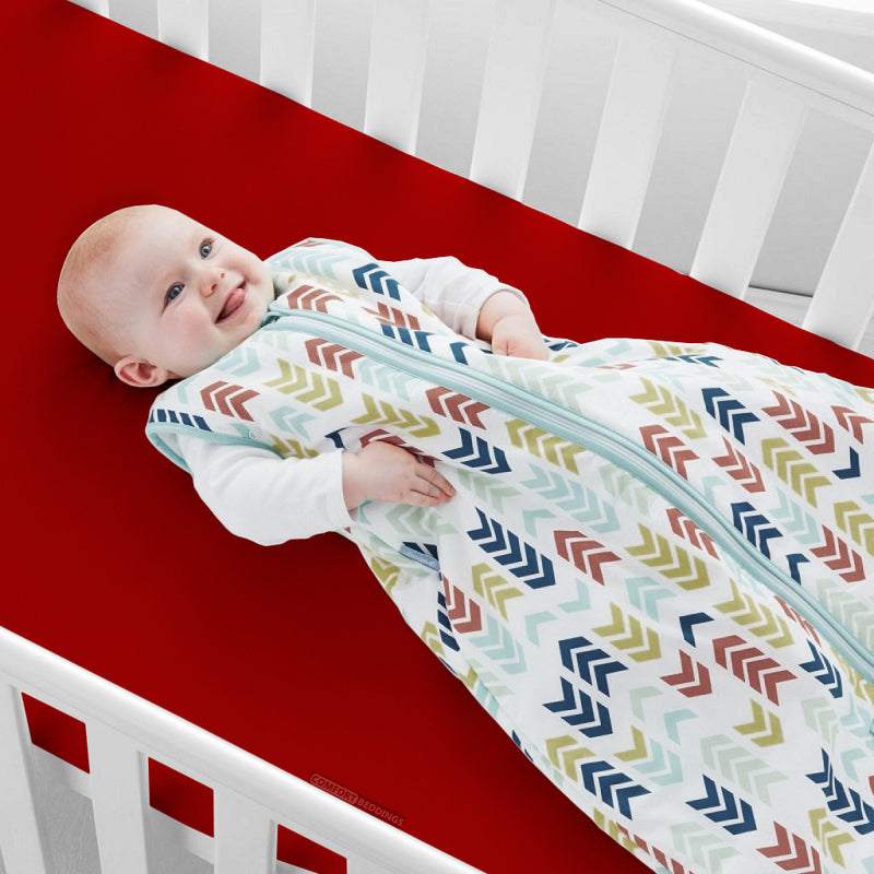 100% Egyptian Cotton Blood Red Crib Sheets - 600TC