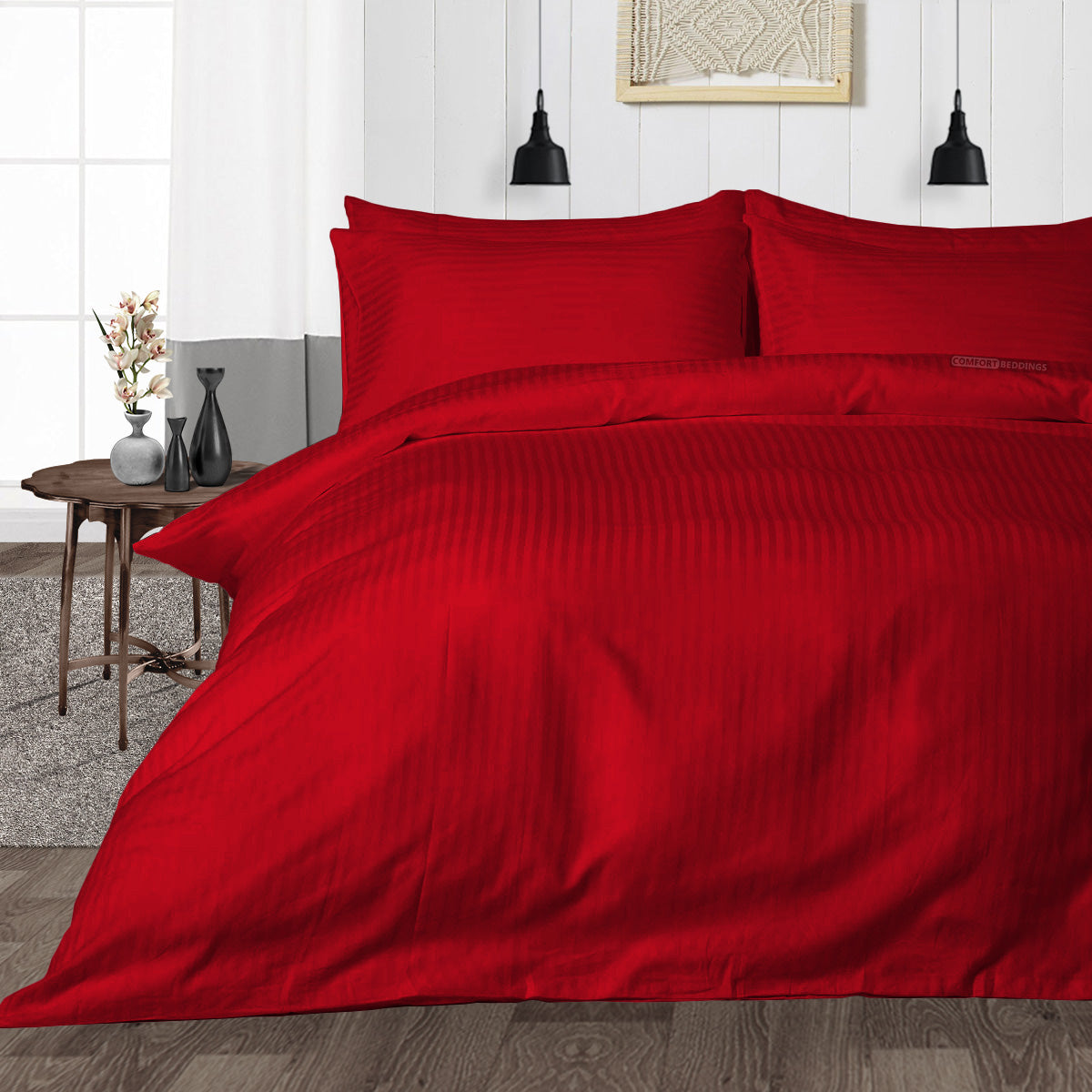 600TC Blood red Striped Duvet Cover Set