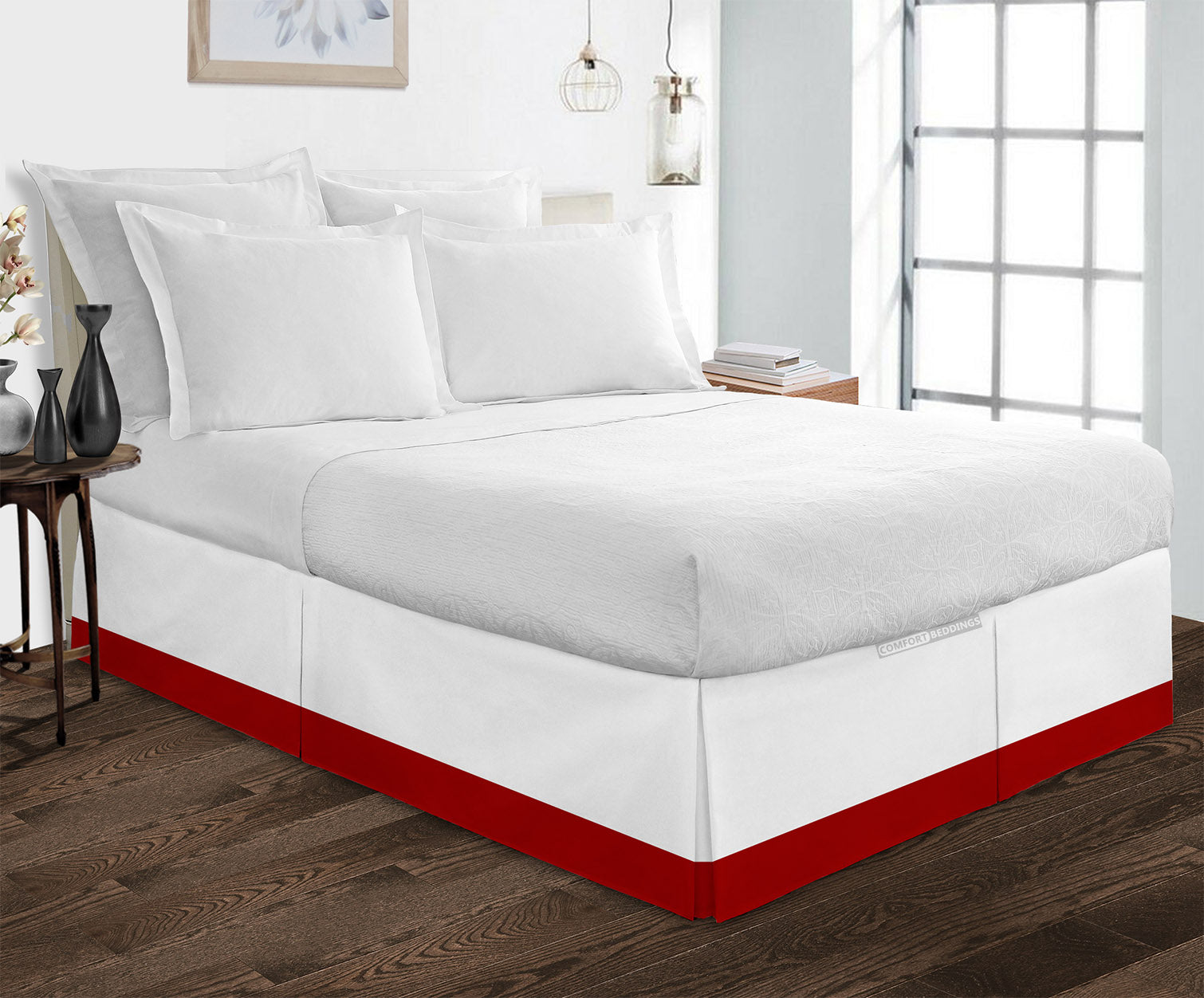 100% cotton Blood Red two tone bed skirt