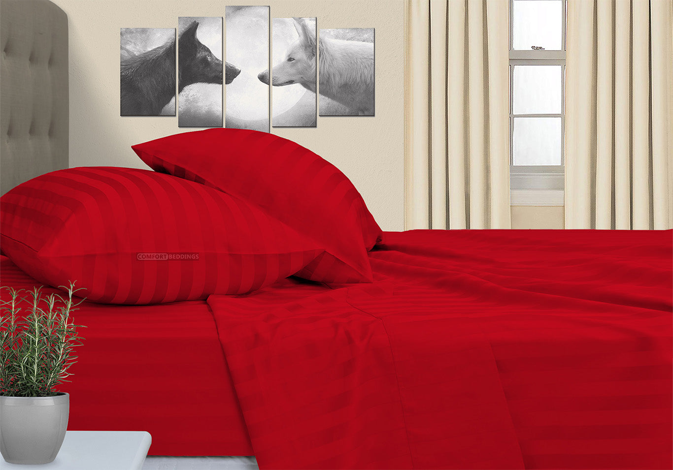 Luxury 600TC Blood Red Striped Camper Sheet Set