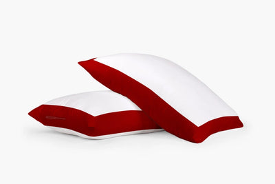 1000 TC Blood red - white two tone pillow cases