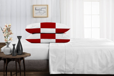 Luxury 1000 TC Blood red - white chex pillowcases