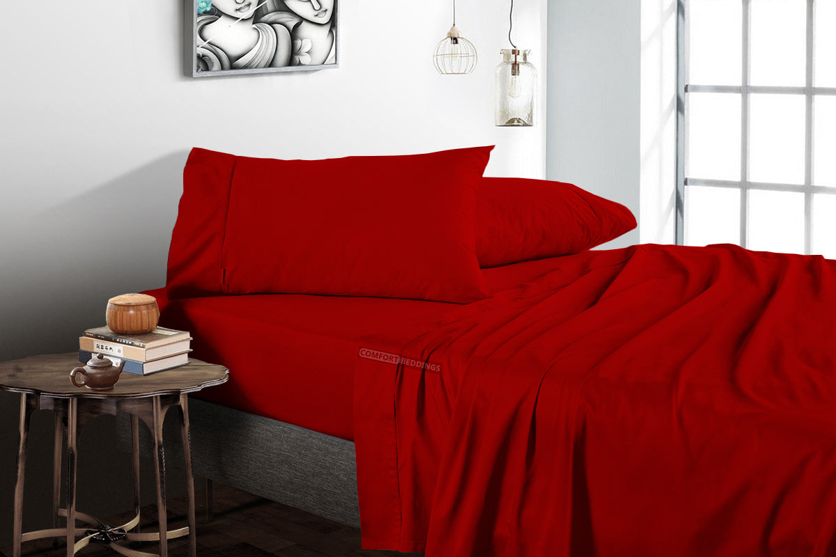 Blood Red Flat Sheet - 100% Egyptian Cotton