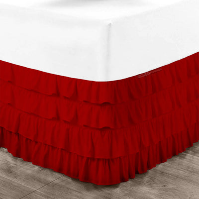 Best 100% cotton Blood Red waterfall ruffled bed skirt