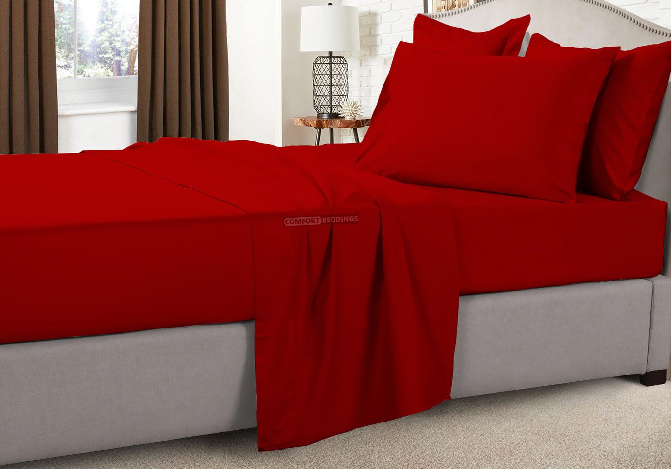 Wrinkle Free Blood Red Bunk Sheets Set