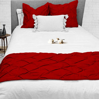 Luxury 600TC Blood Red Pinch Bed Runner Set