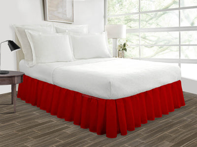 Luxurious Blood Red Ruffled Bed Skirt