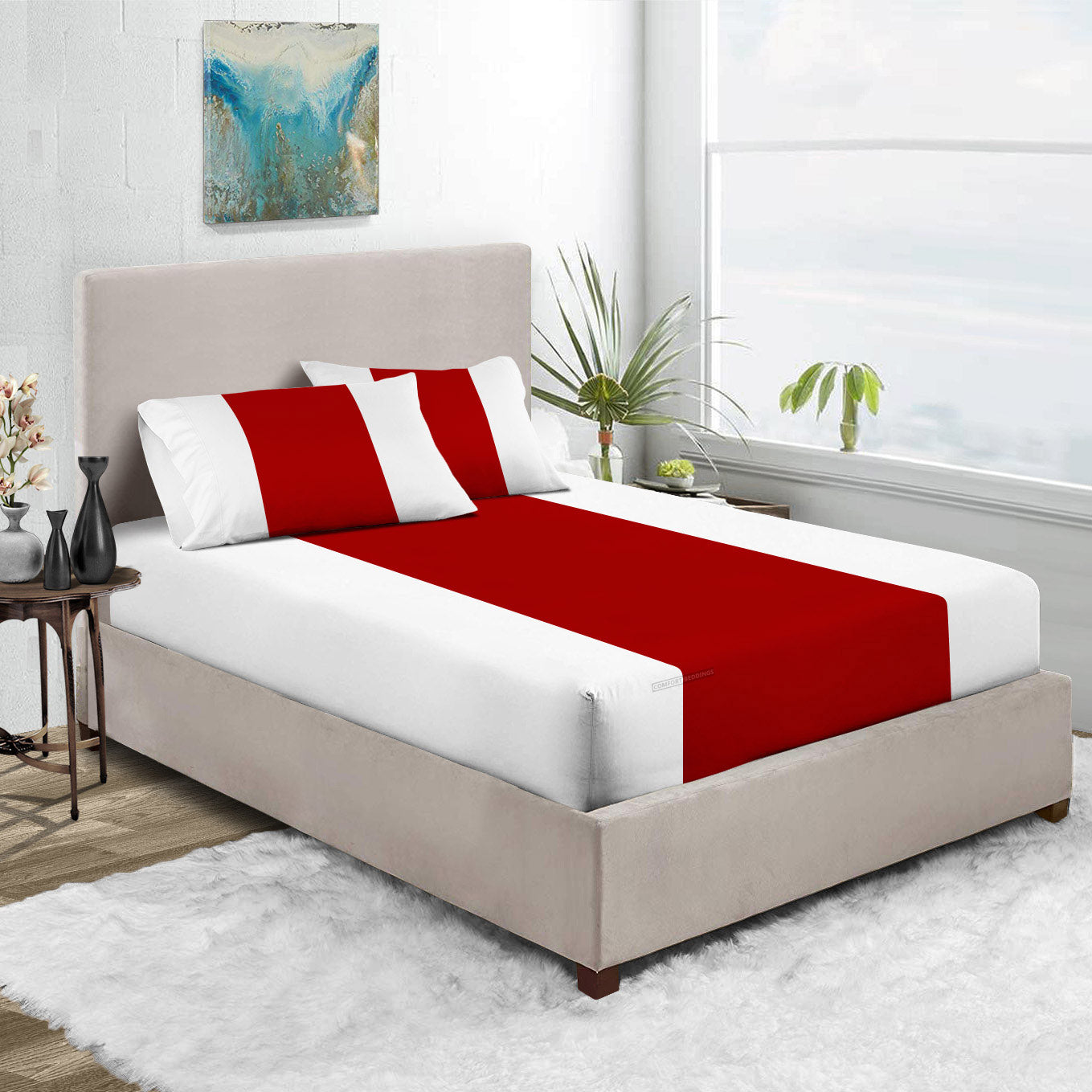 Luxury Blood Red - White Contrast Fitted Sheet