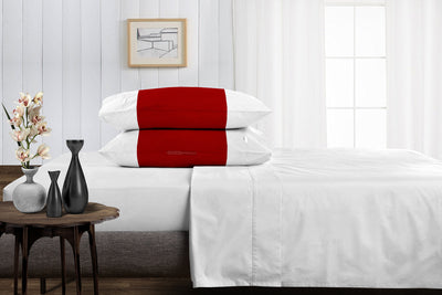 Luxury 600 TC Blood red - white contrast pillowcases