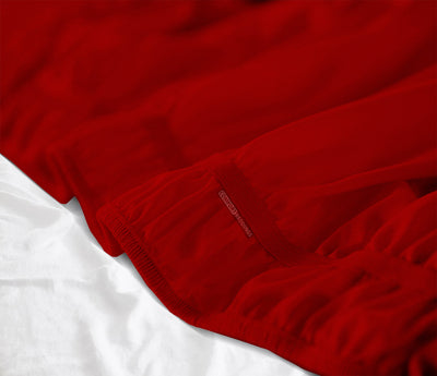 Luxurious Blood Red Wrap Around bed skirt