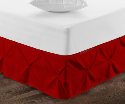 Essential Blood Red pinch pleated bed skirt