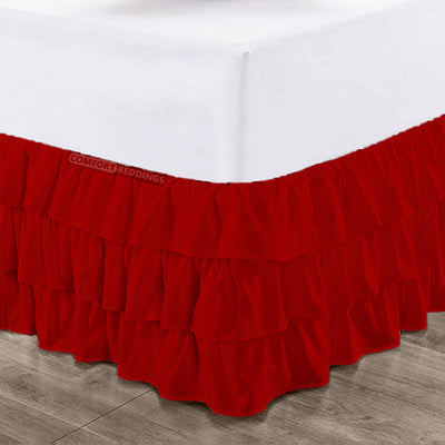 1000TC Blood Red Multi Ruffled Bed Skirt