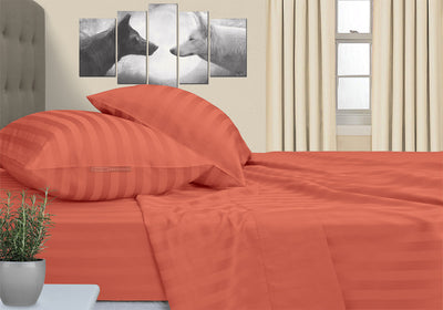 Most selling Brick Red Striped RV Sheet Set