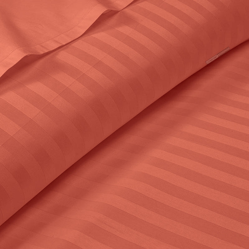 Brick red Striped Duvet Cover Set - 600TC