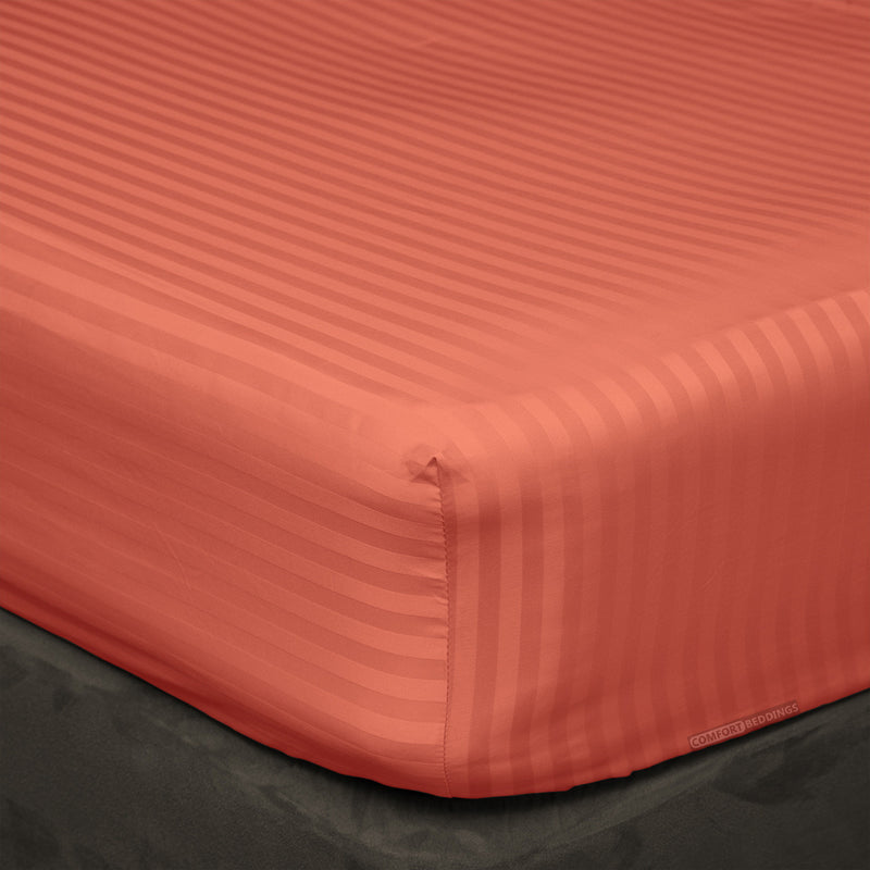 Egyptian Cotton Brick red striped Fitted Sheets