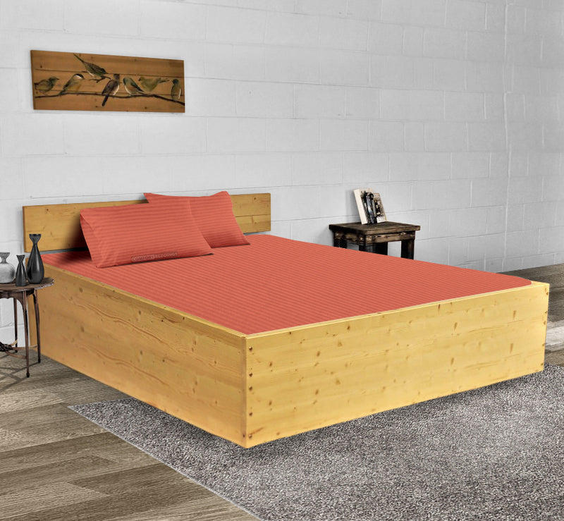 Luxury Brick Red Stripe Waterbed Sheets