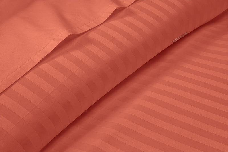 Luxury Brick Red Striped Sheet Set